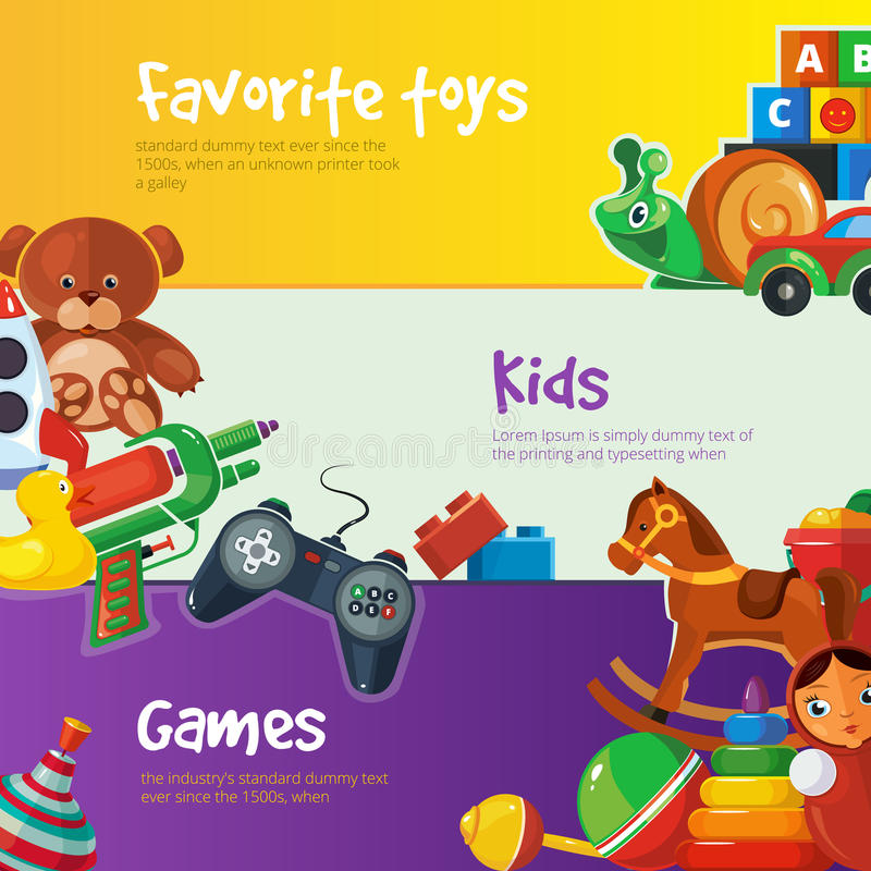 Toys icons for web banners. royalty free illustration