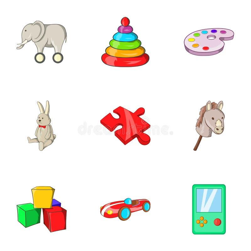 Toys kid icons set, cartoon style. Toys kid icons set. Cartoon illustration of 9 toys kid icons for web vector illustration