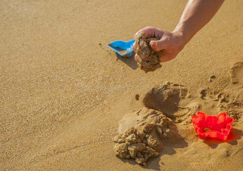 Toys of kid for playing sand enjoy. In playground stock photography