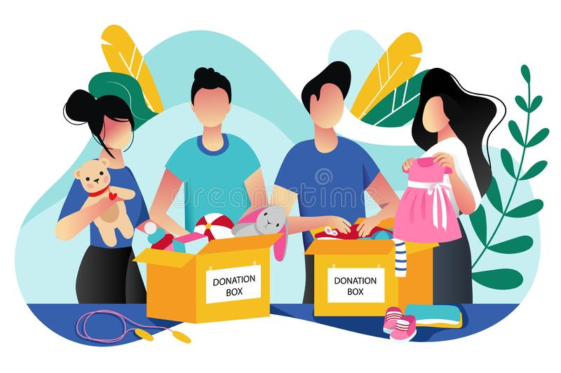 Toys and kids clothes donation. Vector trendy flat cartoon illustration. Social care, volunteering and charity concept. Volunteer people collect donations into royalty free illustration