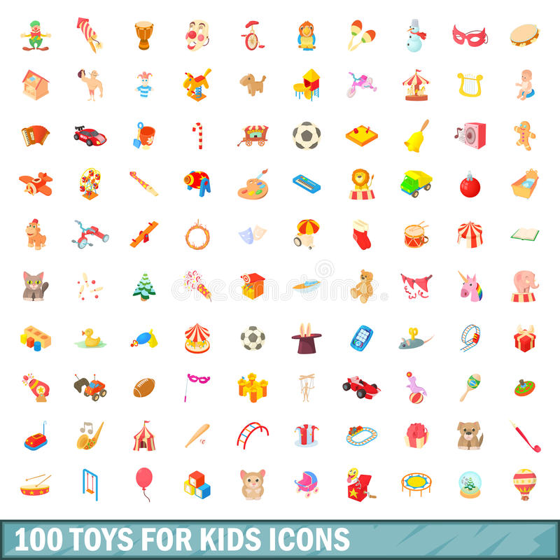 100 toys for kids icons set, cartoon style. 100 toys for kids icons set in cartoon style for any design vector illustration stock illustration