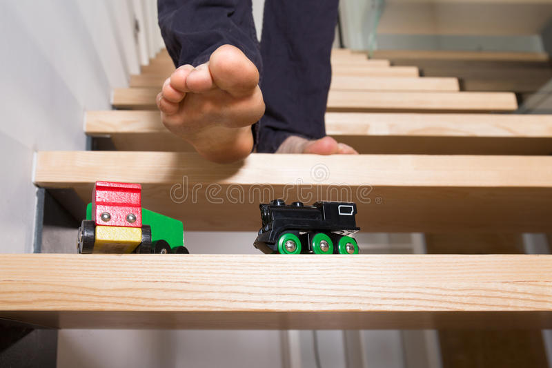 Toys left on steps royalty free stock photos