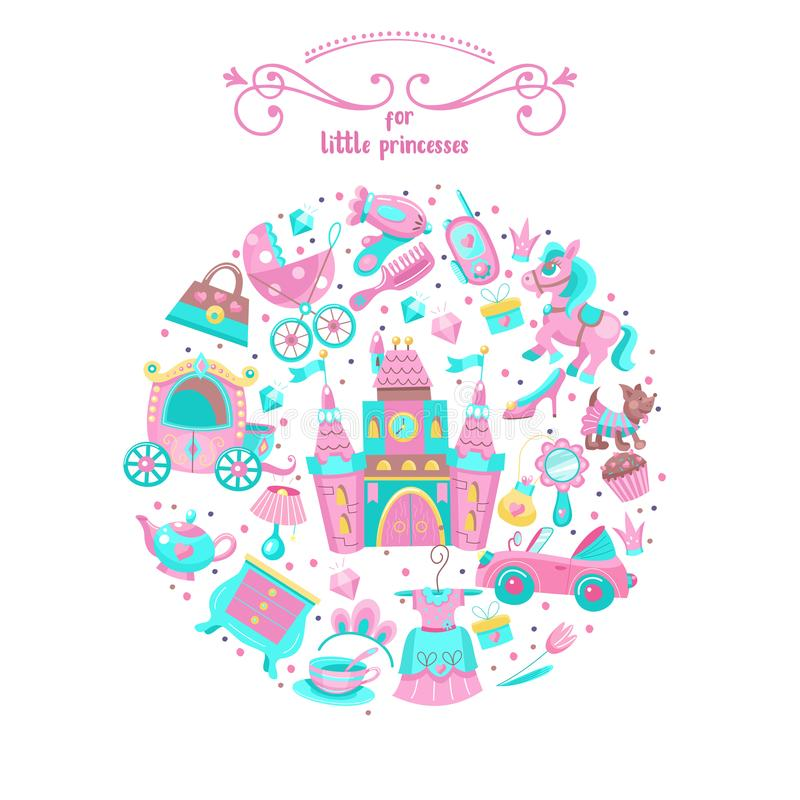 Toys for little princesses. Set of vector cliparts. Toys for little princesses. Big set of vector images collected in the form of a circle. Childrens toy vector illustration