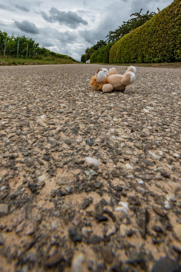 Toys lying on the street. Children`s toys are on the street royalty free stock photography
