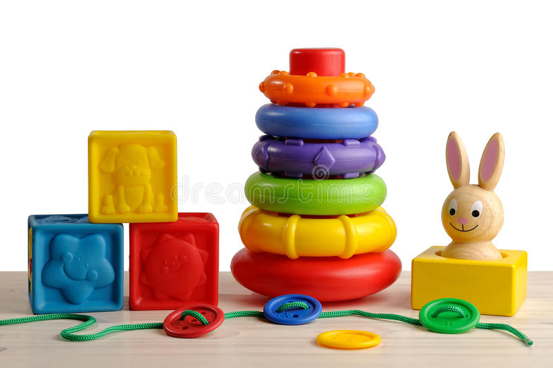 Toys for motor development of the child. Colorful set toys for motor development of the child stock photos