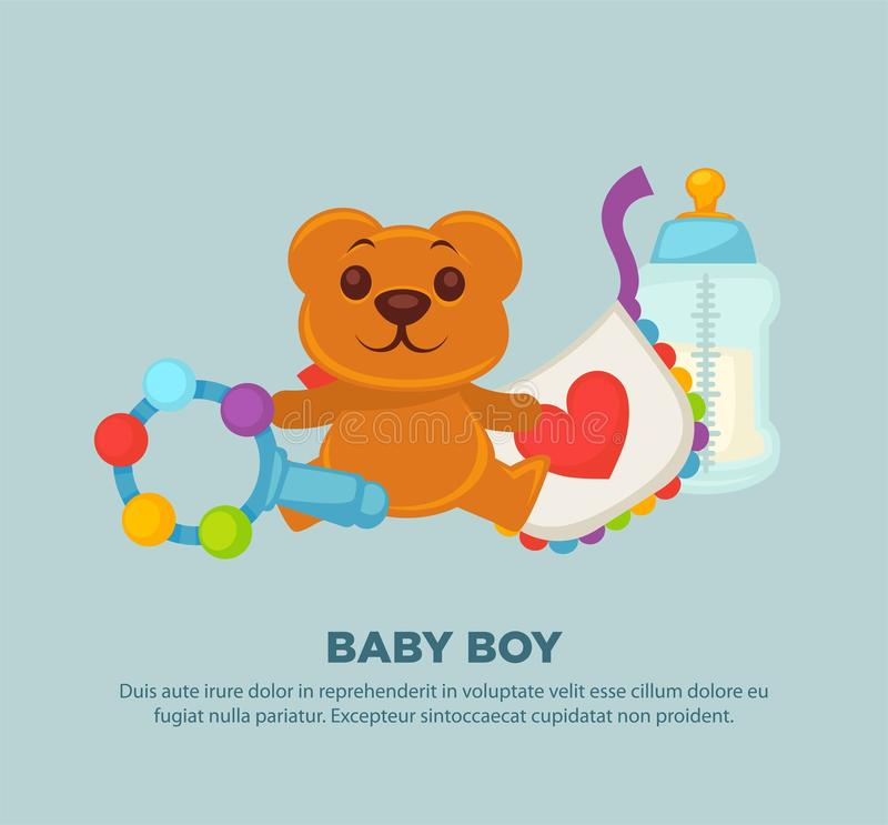 Download Toys For Newborn Baby Boy On Promotional Poster Stock Vector