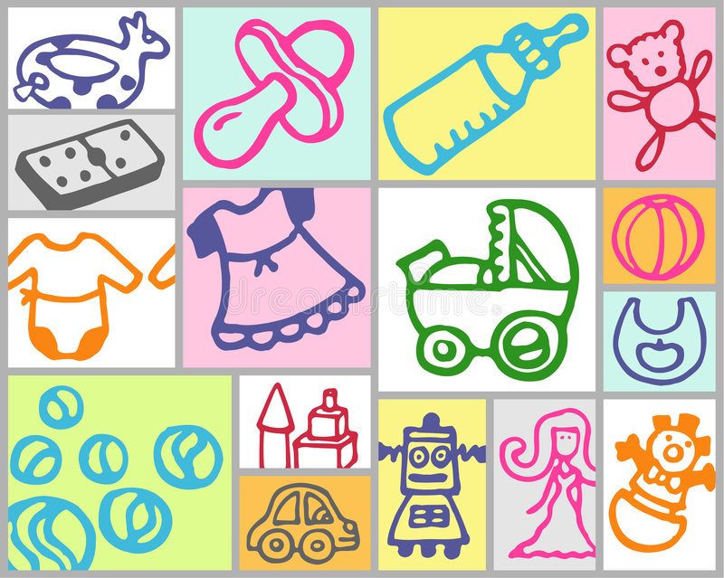 Download Toys and nursery stock vector. Image of toys, icons, drawing - 5488900