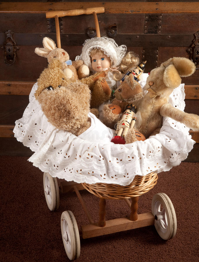 Download Toys in old cradle stock photo. Image of toys, cradle - 18195672