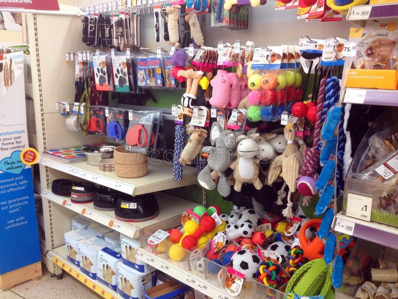 Toys in a pet store or shop. Toys to play with pets in a pet store or shop stock photos