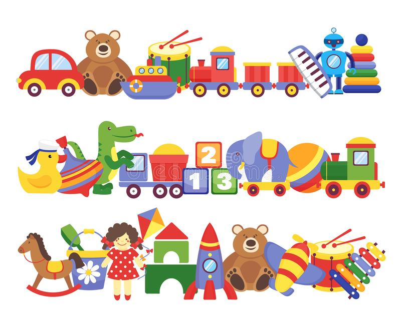 Toys pile. Groups of children plastic game kids toys elephant teddy bear train rocket ship doll dino vector royalty free illustration