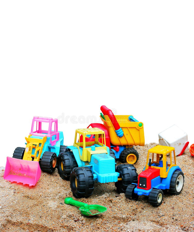 Toys plastic sandbox. Isolated objects stock photos