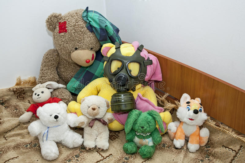 Toys ready for apocalypse. A kids toys ready for apocalypse royalty free stock photography