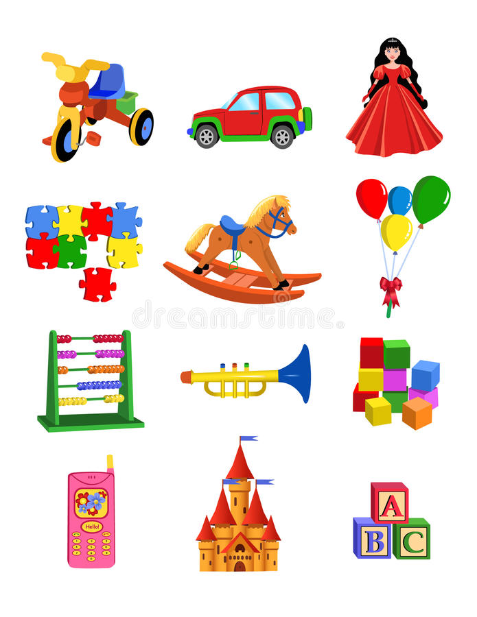 Download Toys set stock vector. Image of musical, gift, cube, kids - 32487608