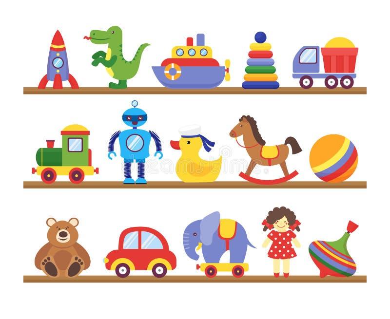 Toys on shelves. Cartoon toy on baby shopping wooden shelf. Dinosaur robot car doll isolated vector. Set vector illustration