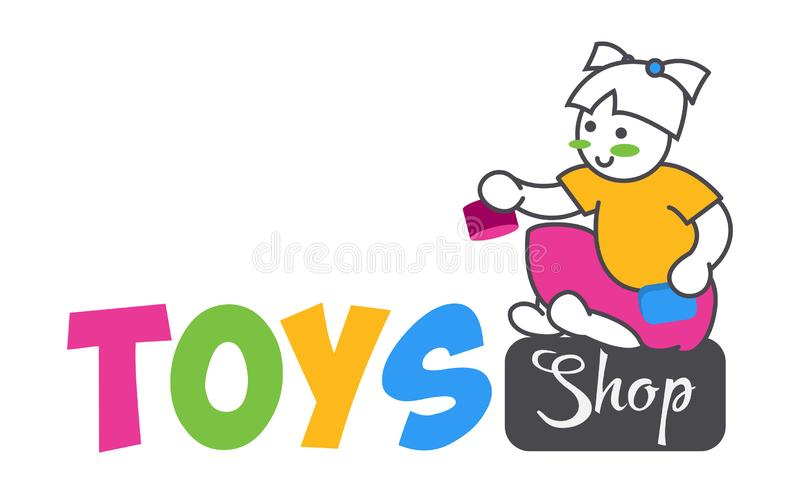 Ð¡ute funny vector girl playing toys isolated on white background. Toys shop logo flat color style for use kids store. royalty free illustration