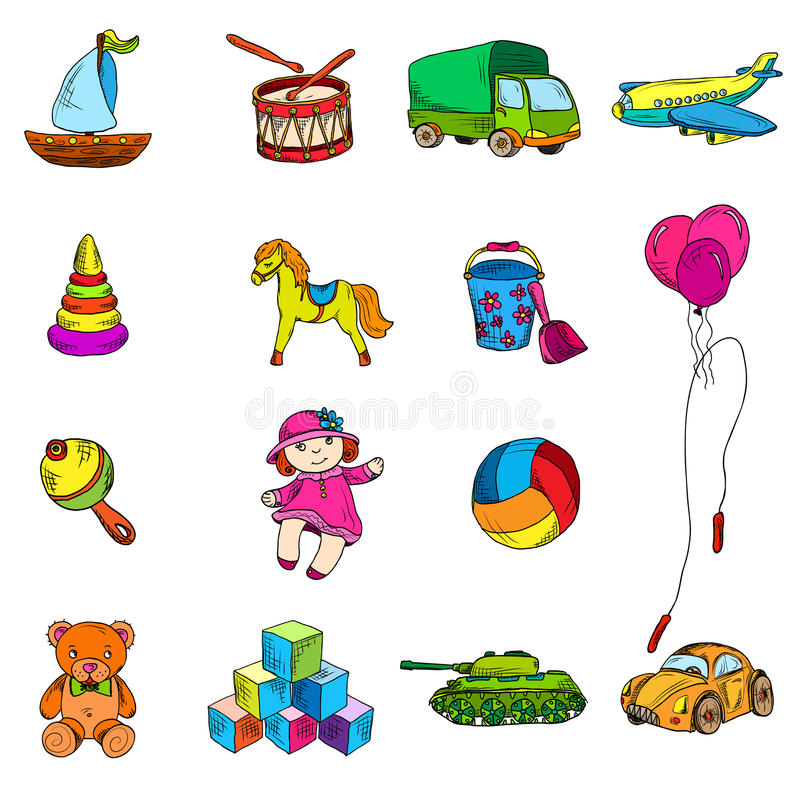 Toys Sketch Icons Set stock illustration