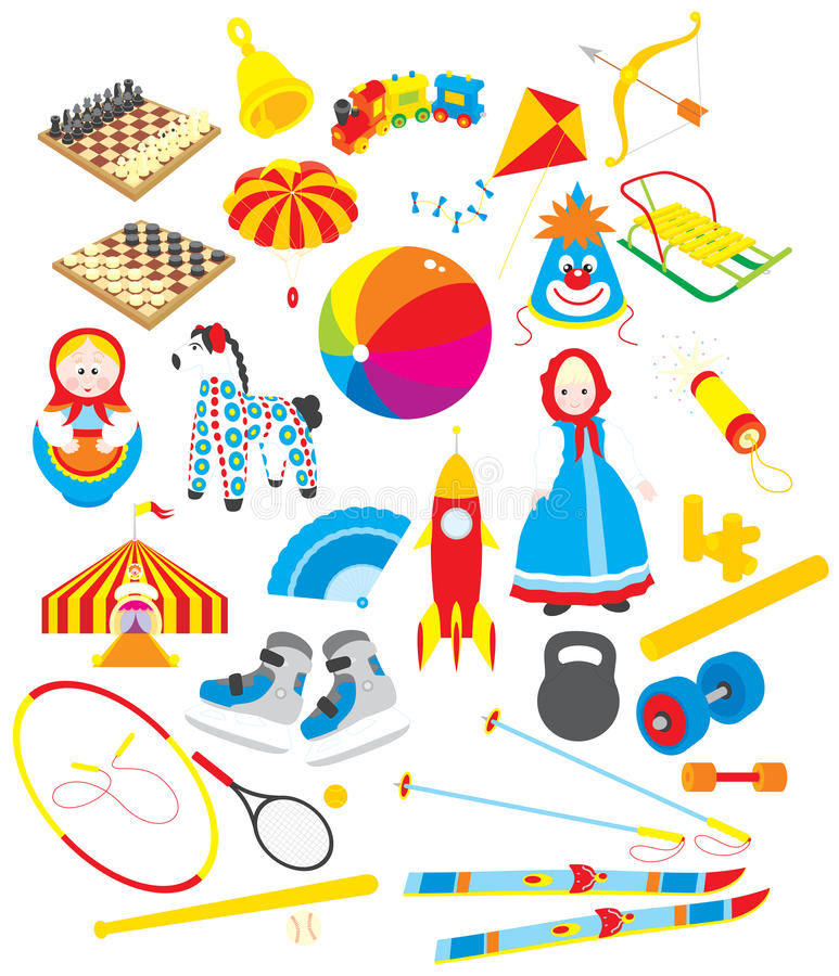 Toys And Sporting Accessories Royalty Free Stock Images