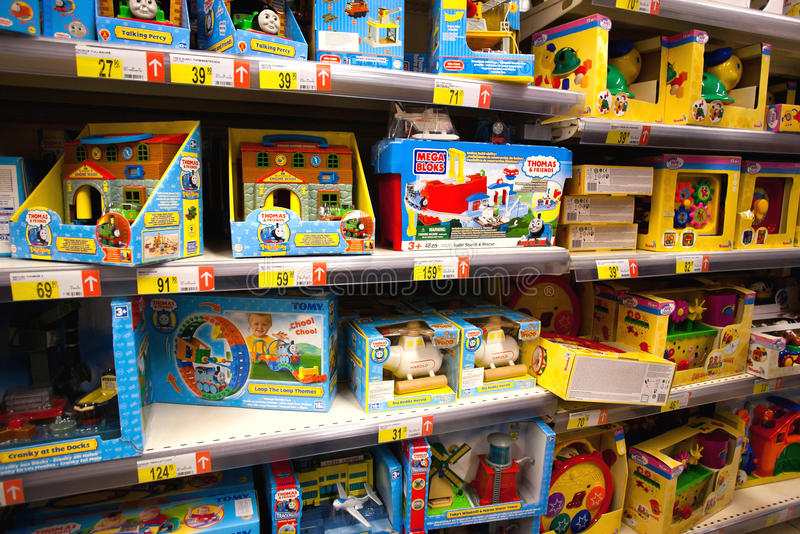 Toys in supermarket stock images