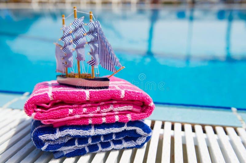 Toys at swimming pool stock image
