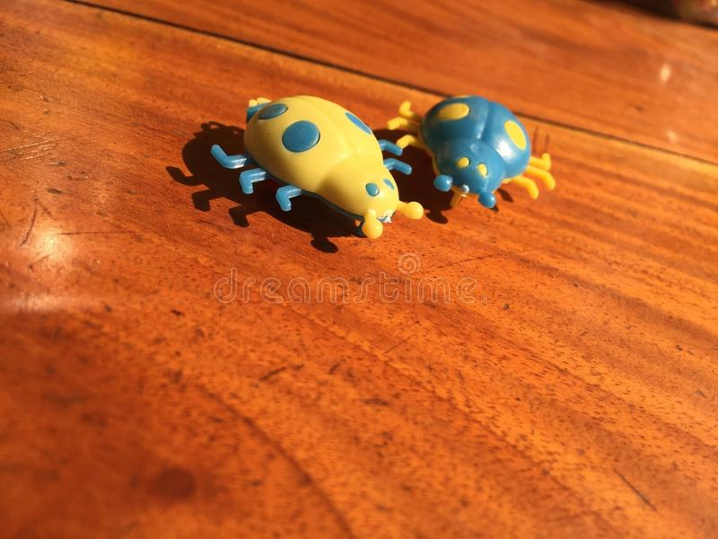 Two toy on the table only yellow toy there royalty free stock images