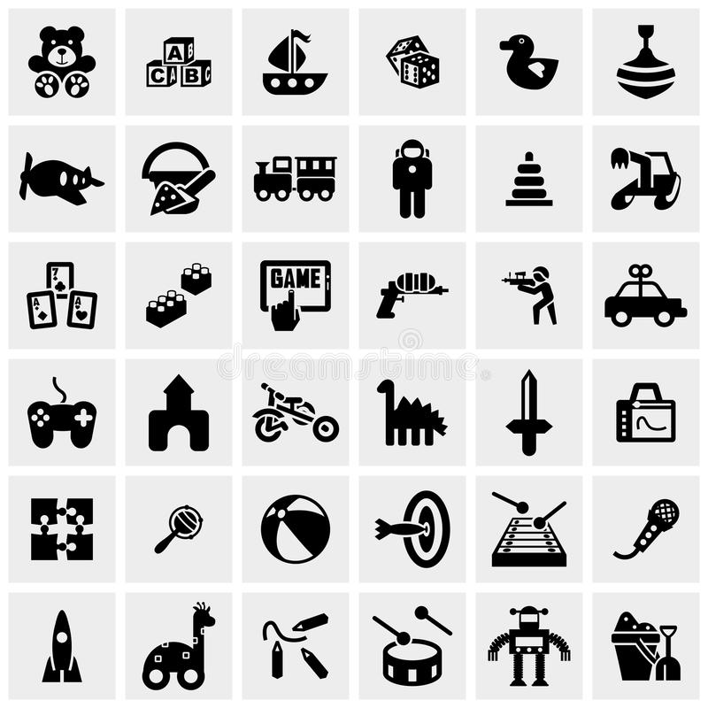 Free Toys Vector Icons Set On Gray Stock Photos - 40973133