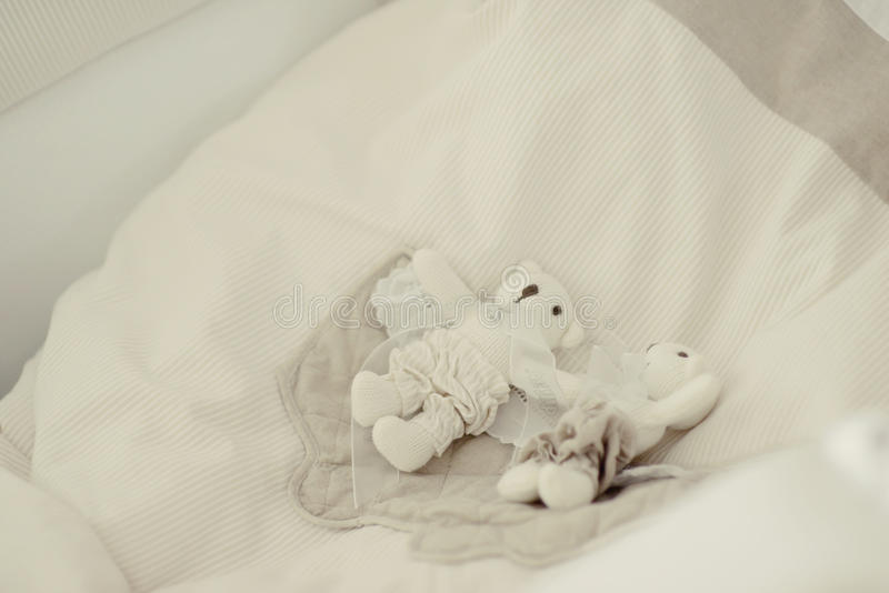 Toys on a white pillow. Lie on a white pillow toys bear and white dog stock images