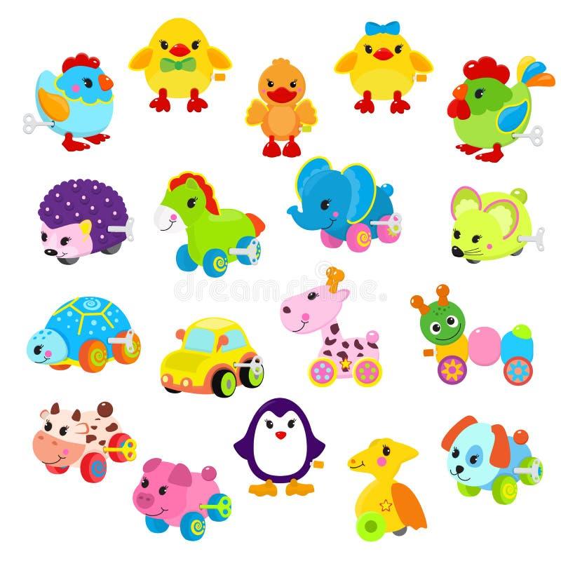 Toyshop игровой механика механизма вектора ключа игрушки Clockwork для лошади работы часов детей животной, утки, робота, автомоби иллюстрация штока