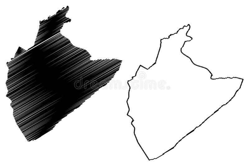 Tozeur Governorate Governorates of Tunisia, Republic of Tunisia map vector illustration, scribble sketch Tozeur map.  royalty free illustration
