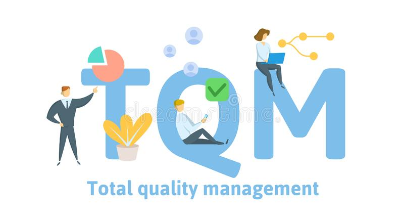 TQM, gestão de qualidade total Conceito com palavras-chaves, letras e ícones Ilustração lisa do vetor Isolado no branco ilustração do vetor