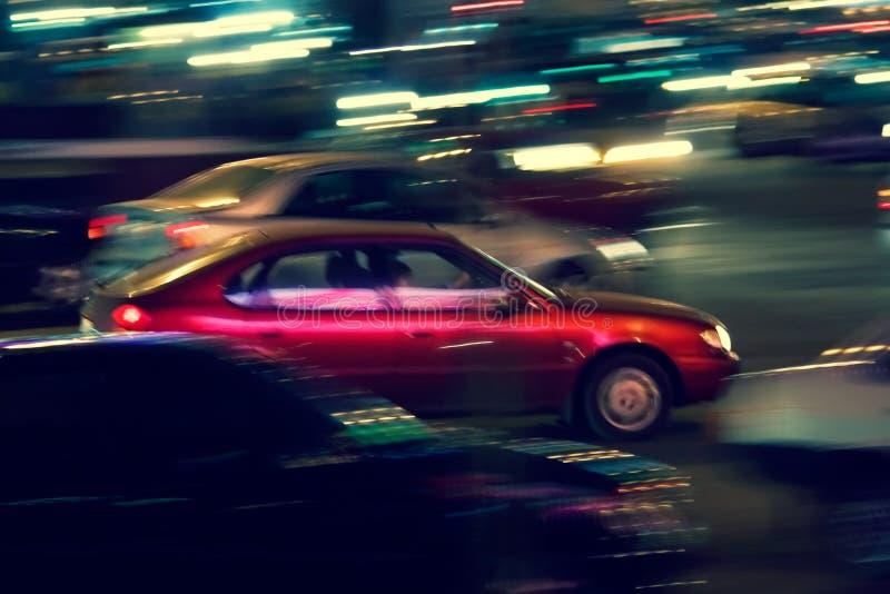 Tráfego abstrato da noite imagens de stock