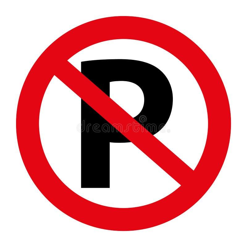tráfego da ilustração nenhum gráfico do sinal do estacionamento isolado no branco ilustração stock