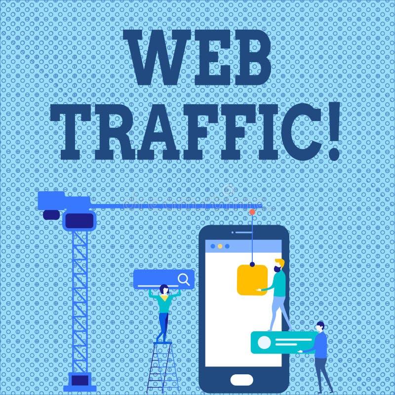 Tráfego da Web do texto da escrita da palavra Conceito do negócio para uma quantidade de dados enviados e recebidos por visitante ilustração do vetor