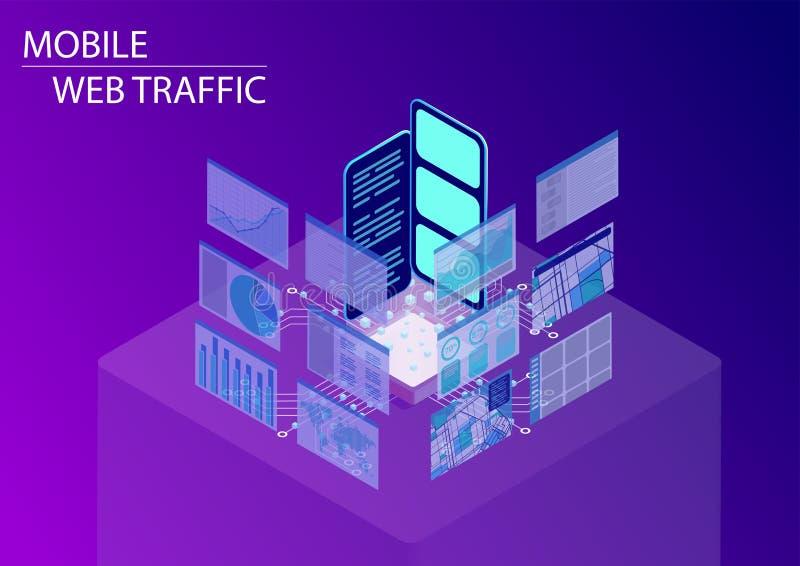 Tráfego da Web e monitoração móveis do conceito surfar de Internet ilustração isométrica do vetor 3d com smartphones de flutuação ilustração do vetor