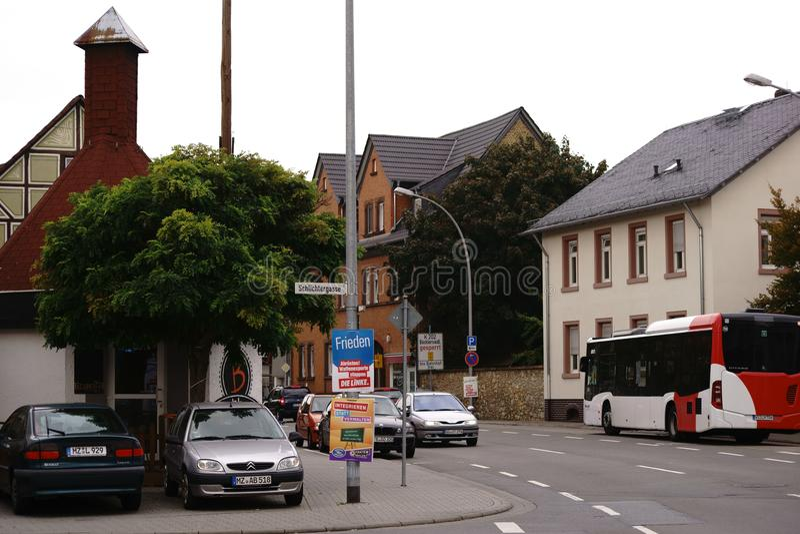Tráfego de ônibus Bischofsheim foto de stock