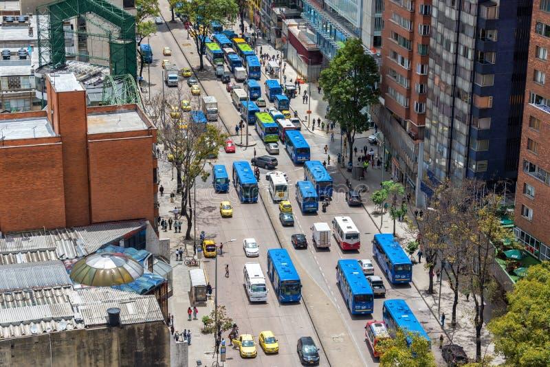 Tráfego de Bogotá, Colômbia foto de stock royalty free
