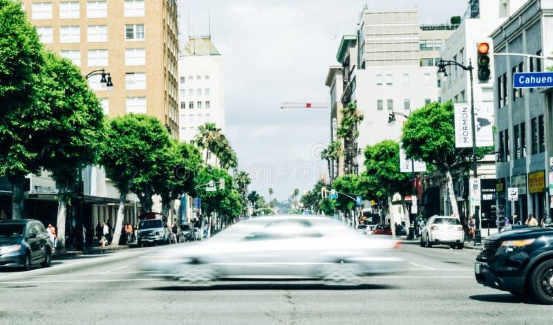 Tráfego de turista no bulevar Hollywood E imagem de stock