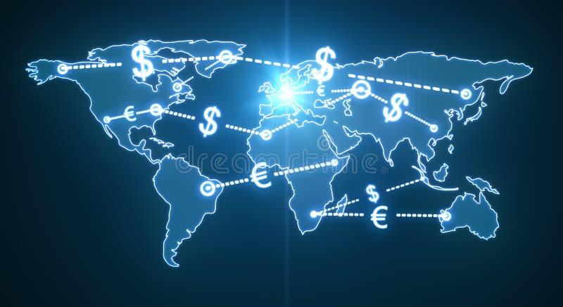 Tráfego do dinheiro do mundo ilustração do vetor