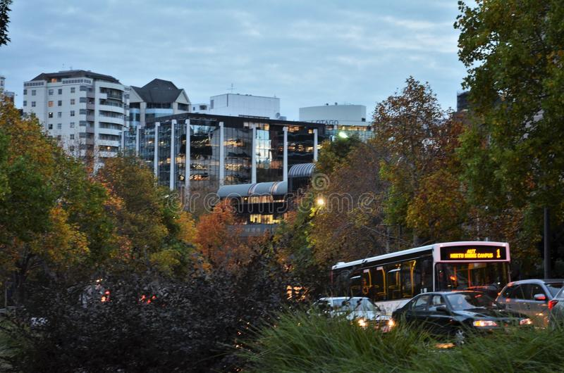 Tráfego em Auckland CBD durante a estação do outono fotos de stock royalty free