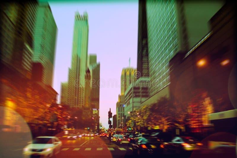 Tráfego na avenida de Michigan fotos de stock