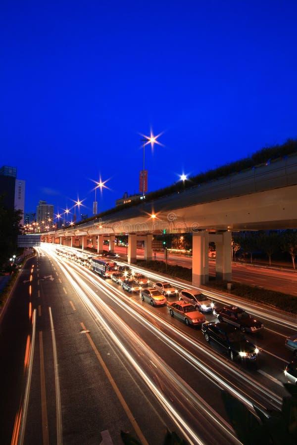 Tráfego ocupado em Shanghai fotos de stock