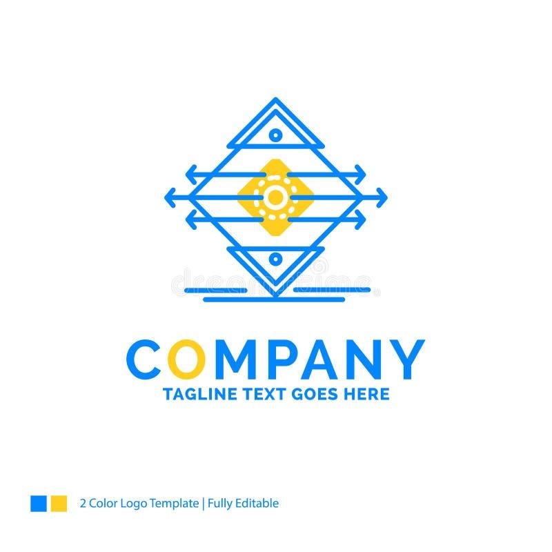 Tráfego, pista, estrada, sinal, temp amarelo azul do logotipo do negócio da segurança ilustração do vetor