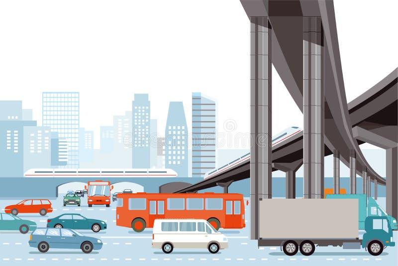 Tráfego rodoviário e trem elevado ilustração stock