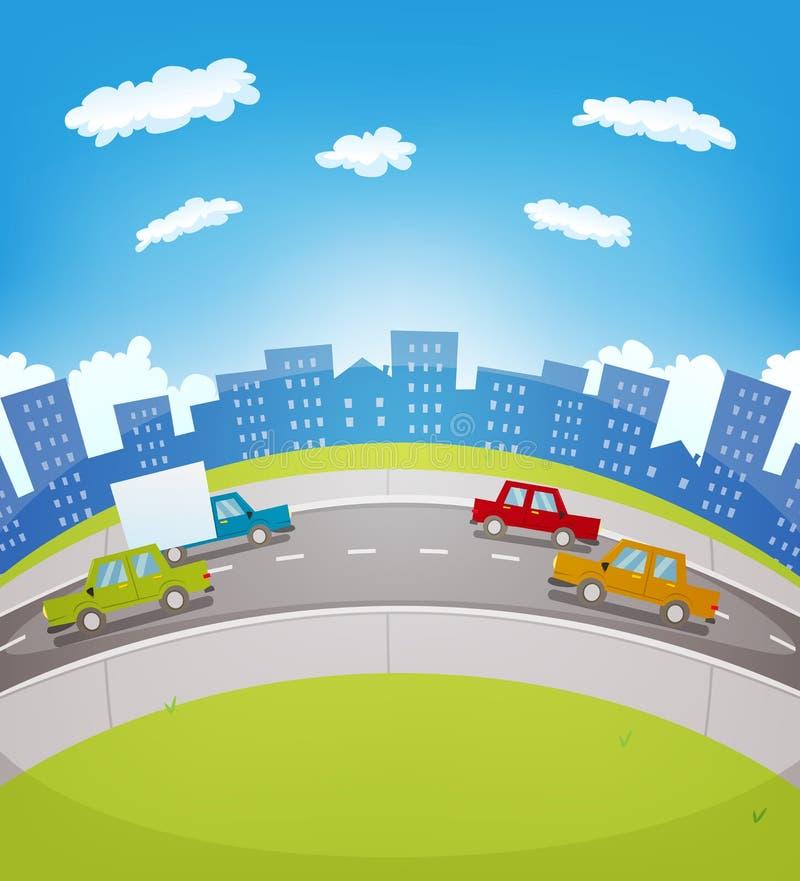 Tráfego urbano dos desenhos animados ilustração stock