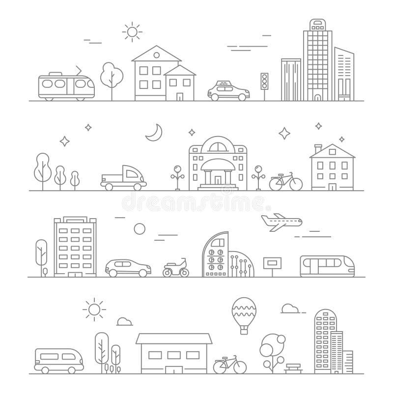 Tráfego urbano Isolado linear dos símbolos do transporte ilustração do vetor
