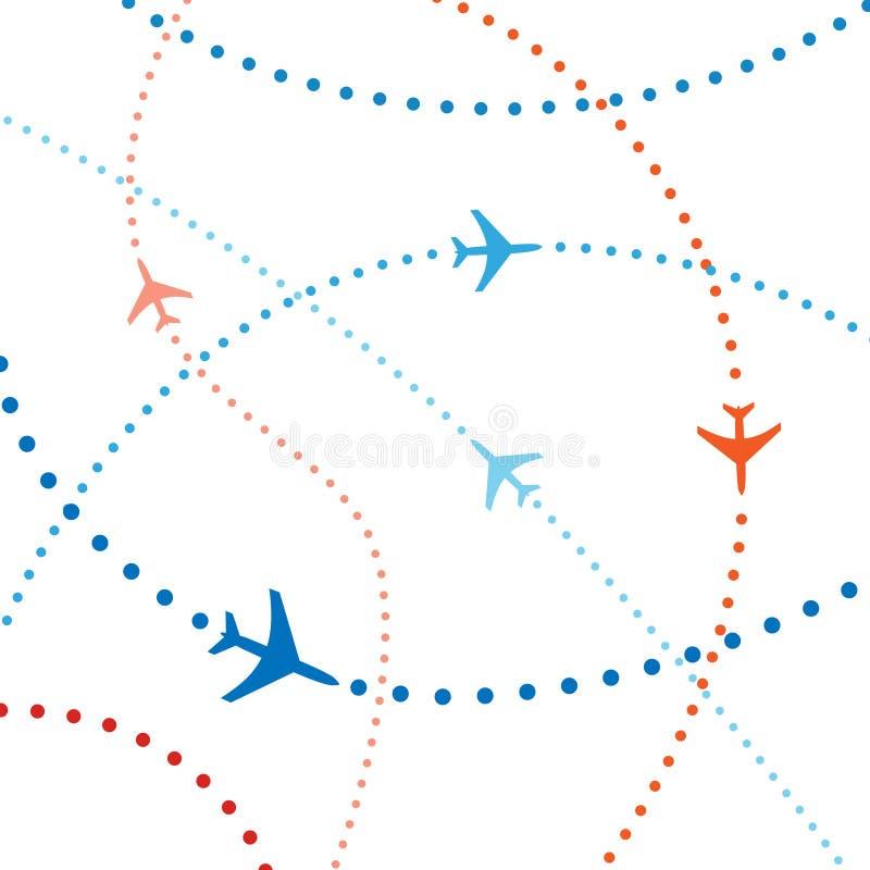Tráfico aéreo colorido dos vôos do curso dos planos da linha aérea ilustração royalty free