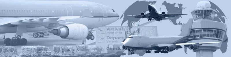 Tráfico aéreo mundial da bandeira ilustração stock