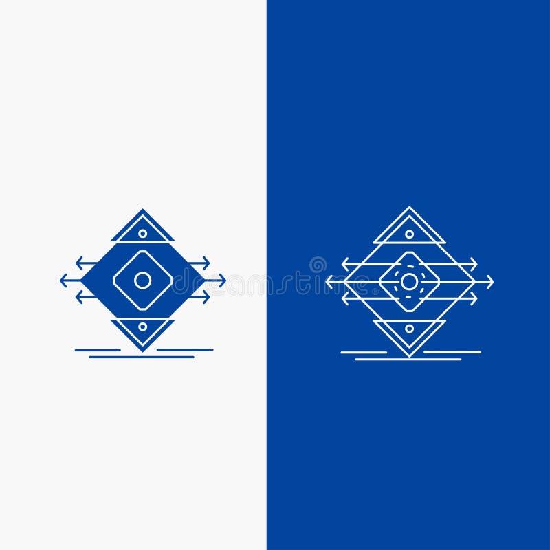 Tráfico, carril, camino, muestra, botón de la web de la línea de la seguridad y del Glyph en la bandera vertical del color azul p ilustración del vector