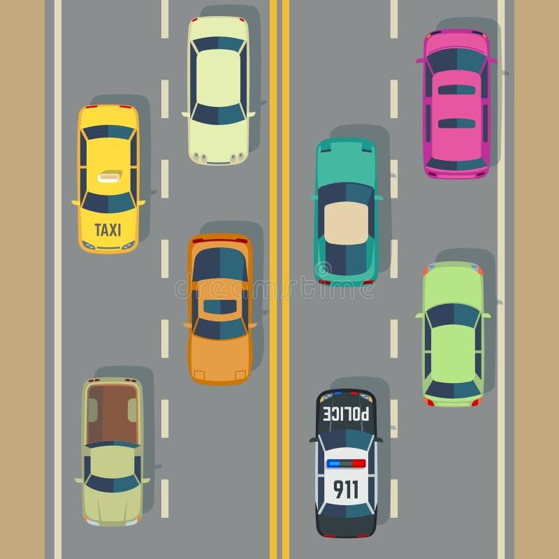 Tráfico de la carretera con vector de la calle de los coches y de los camiones de la visión superior stock de ilustración