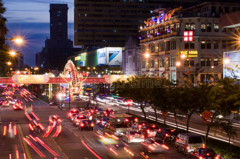 Tráfico del festival de resorte en Chinatown imagenes de archivo