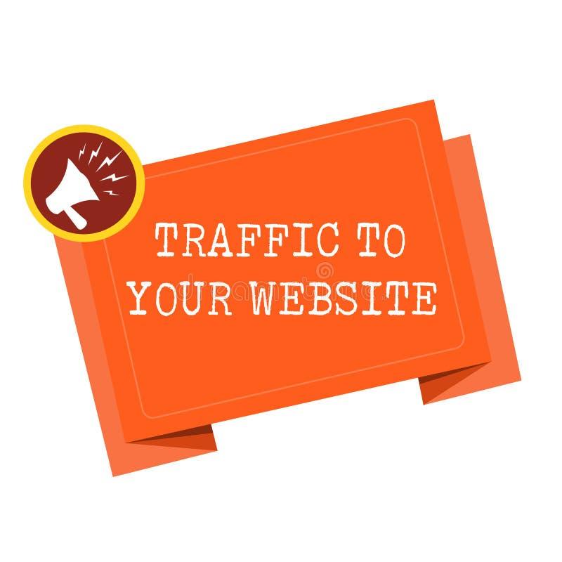 Tráfico del texto de la escritura de la palabra a su sitio web Concepto del negocio para la sangre del negocio en línea que más p stock de ilustración